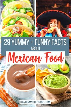 29 Yummy (and funny) facts about Mexican food. Check out these fascinating facts about Mexican food! Mexicans eat 50 billion tacos a year. And Mexican hot chocolate is the best in the world. | Mexican food facts | Fun facts about tacos | Mexican chocolate Food Travel, Travel Info, Travel Guides, Travel Tips, Mexican Food Facts, Mexican Food Recipes, Tasty Dishes, Food Dishes, Central America
