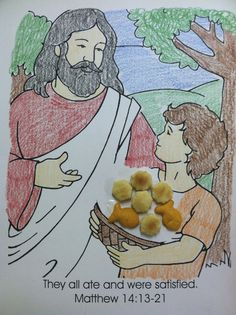 Bible Story:  Jesus Feeds Five Thousand. I try not to use color sheets, but I loved this quick one and used oyster crackers for the five loaves and goldfish for the fish.  This was a good counting lesson for the kids.