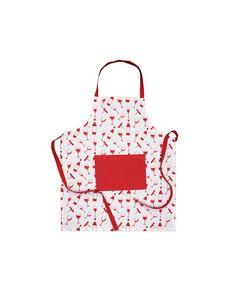 Delantal en tonos rojos y blancos. Un regalo perfecto para los más cocinillas. Diferentes estampados y colores por sólo 6,50 euros