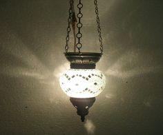 white mosaic hanging lamp glass chandelier light lampen handmade candle art 060 #Handmade #Moroccan