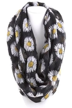 Sunflower-Infinity-Large-Scarf-Black-White-Yellow-Boutique-BNWT