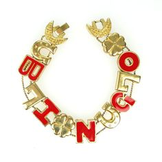 Bingo Slide Bracelet BINGO Letter Charms Red by ClarasChicBoutique