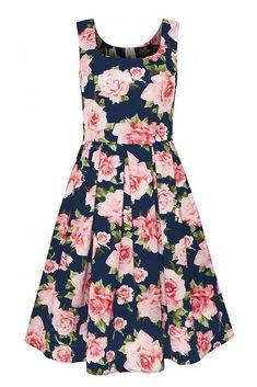 """Krásné tmavě modré šaty s barevnými květy jsou dokonalou volbou na svatby, zahradní slavnosti nebo na oběd s přáteli. Velmi příjemný materiál (100% polyester), bez rukávů, boční kapsy, zapínání na zip na zadní straně. Doporučujeme doplnit spodničkou z naší nabídky v délce 25""""-27"""". Girl Fashion, Fashion Dresses, Blue Dresses, Summer Dresses, Rose Print Dress, Formal Dresses For Weddings, Red Gingham, Fitted Bodice, Pin Up Girls"""