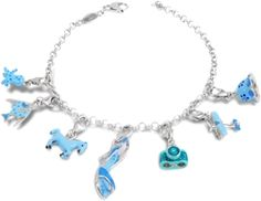 Bright blue lacquer brightens & enhances these unique sterling silver charms including a hat, airplane, camera, sandal, horse, fish, octopus.