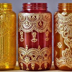 This eclectic jar lantern will make wonderful boho chic table decor - a boho henna lamp for your bohemian patio! This listing is for one 32 oz (quart sized) hand painted mason jar vessel. You choose from the three henna painted jars pictured, either canary yellow glass, ruby red glass, or tangerine glass. See a design you like but want a different glass color? No problem! Just choose the jar with the design you like, then leave me a message during checkout letting me know your glass color…