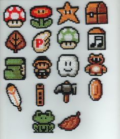 Super Mario Bros - cross stitches but can be used for hama beads too Hama Beads Design, Hama Beads Patterns, Beading Patterns, Diy Bordados, Bordados E Cia, Perler Beads, Fuse Beads, Cross Stitching, Cross Stitch Embroidery