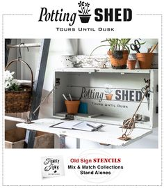 Potting Shed : a charming garden themed stencil with a potted clay pot graphic, part of Funky Junk's Old Sign Stencils   funkyjunkinteriors.net