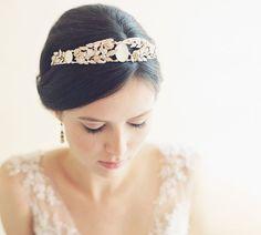 Vintage inspired cameo leaf bridal tiara by EricaElizabethDesign, $565.00