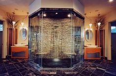 I want this waterfall shower, but with more shower heads and a full bench