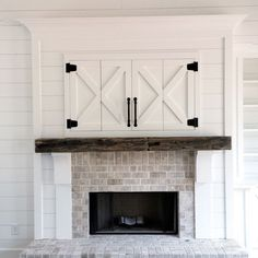 Rustic Farmhouse Fireplace In White Brick And Wood