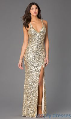 Dress, Sequin V-Neck Floor Length Dress by Primavera - Simply Dresses