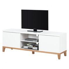 TV-Lowboard Blomquist II - Matt Weiß/Roteiche Furnier   Home24