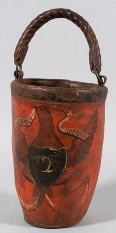 Red Painted Leather Fire Bucket