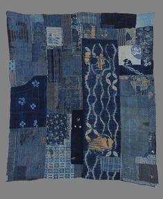 sashiko mending on Japanese boro cover Japanese Textiles, Japanese Fabric, Japanese Art, Japanese Style, Sashiko Embroidery, Japanese Embroidery, Shibori Fabric, Fabric Art, Antique Crib