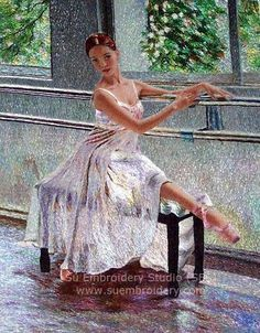 Ballet Dancer, silk embroidered painting, Chinese hand embroidery art, Suzhou embroidery, Su Embroidery Studio