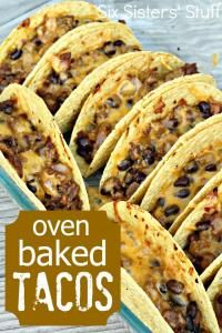 Oven Baked Beef Tacos Recipe on MyRecipeMagic.com. This is a great recipe that your kids will love from the Six Sisters . #tacos #beef #baked
