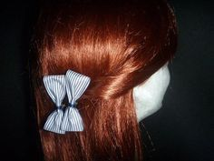Navy & White Stripe Bow Pins (Pair) - Top End Millinery