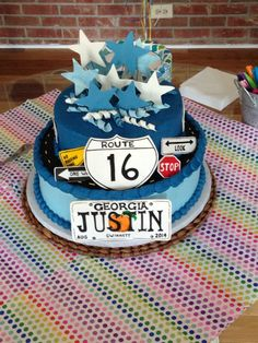 Boys 16th birthday cake Top layer chocolate Bottom layer vanilla