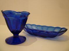 COBALT BLUE GLASS. Set of 2 Pieces. by JenniferCheriDesigns