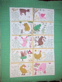 """Vintage Handmade Childs Quilt 50"""" x 70"""" Over The Meadow Poem Farm Animals Baby"""
