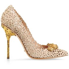 Sergio Rossi Filigree Pumps ($610) ❤ liked on Polyvore featuring shoes, pumps, heels, sapatos, nude, leather shoes, heel pump, leather high heel pumps, nude high heel pumps and genuine leather shoes