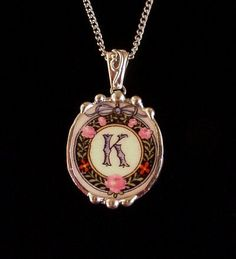 Broken China Jewelry oval pendant antique china K initial monogrammed roses Made from a broken plate