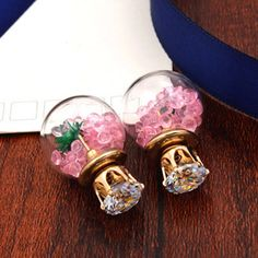 Double Faced Stud Earring, Zinc Alloy, with acrylic rhinestone & Glass, stainless steel post pin, Round, gold color plated, with cubic zirconia, more colors for choice, lead & cadmium free, 15mm,china wholesale jewelry beads