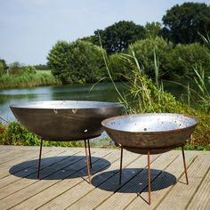 Mild Steel Fire Pits with Iron Stands available in a variety of sizes. Steel Fire Pit, Fire Pits, Stove Fan, Outdoor Tables, Outdoor Decor, Fire Bowls, Corten Steel, Wood Burner, Wood Storage