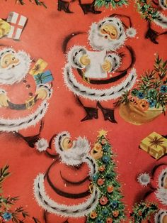 Vintage Christmas Gift Wrapping Paper Red Santa Claus | eBay