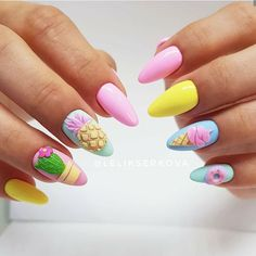 Pineapple Nail Design, Pineapple Nails, Bright Summer Nails, Summer Acrylic Nails, Nail Summer, Pink Nail Art, Pink Nails, Pastel Nails, 3d Nails