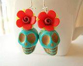 Mexican Skull Day of the Dead Earrings, Turquoise Skulls & Red Flowers, Dia de Los Muertos Jewelry - Catrina - Skull Earrings