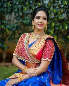 Kerala Saree Blouse Designs, Wedding Saree Blouse Designs, Saree Blouse Neck Designs, Fancy Blouse Designs, Blouse Patterns, Hand Work Blouse Design, Stylish Blouse Design, Sari Bluse, Maggam Works
