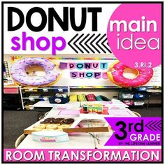You donut have to stress with this cool reading classroom transformation! You're now in charge of a donut shop and have to complete ten orders. In order to finish all ten challenges, you need to complete the ten main idea challenges that align with 3.RI.2. A digital and print version is included.Loo...