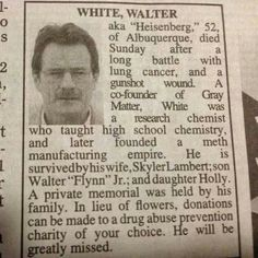 Walter Whites' obituary, somewherd in N.M.