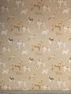 Hunterhill Dog Dark Linen Patterned Wallpaper by Laura Ashley