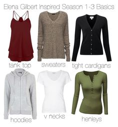 """Elena Gilbert Inspired Season 1-3 Basics"" by staystronng ❤ liked on Polyvore featuring ATM by Anthony Thomas Melillo, James Perse, Doublju, Topshop, tvd, basics and ElenaGilbert"