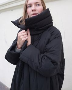 """S T U D I O B A Z A R 🌿 on Instagram: """"Duvet Coat in Charcoal🌚  This coat is made of leftover fabrics from other productions. Warm and extra soft, filled with #DuPontsorona 🌱…"""" Leftover Fabric, Sustainable Clothing, Industrial Style, Duvet, Charcoal, Raincoat, Fabrics, Winter Jackets, Warm"""