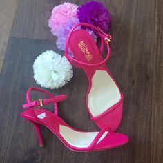 BNWOT Michael Kors  Carlene HotPink Heels never used michael kors shoes in hot pink. very cute. although one scuff on the heels Michael Kors Shoes Heels