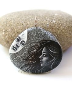 Painted stone art pendant, full moon and girl with windy hair, romantic art jewelry by Magics of Creation