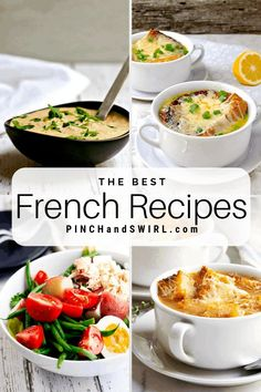 A mouthwatering collection of easy authentic French Recipes that you can make for dinner tonight! Some light some decadent some vegetarian all healthy traditional and delicious! French Salad Recipes, French Recipes Dinner, Easy French Recipes, Vegetarian French Recipes, French Dinner Parties, French Cooking Recipes, French Desserts, Dinner Recipes, French Soup