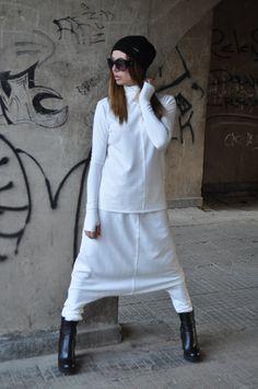 New Collection AW15/16 - Elegant Tricot Set /  Sexy White Sports Set / Drop Crotch Pants / Extravagant Turtleneck Blouse by EUGFashion