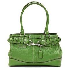 Coach Kelly Green Pebbled Leather Hamilton Satchel Handbag