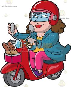 A Woman Riding A Scooter From A Bakery :  A woman with brown hair wearing a red helmet with transparent visor teal jacket over a yellow blouse pink pants and purple shoes smiles while riding a red scooter with a gray lined pink basket in front carrying two French baguettes in a brown paper bag right hand fixes the round gray side mirror  The post A Woman Riding A Scooter From A Bakery appeared first on VectorToons.com.