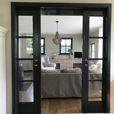 A look inside Iris - De Wemelaer - En suite doors black - Pole Barn House Plans, Pole Barn Homes, Mobile Home Makeovers, Media Room Design, Industrial Living, Fashion Room, Iris, Decorating Your Home, Home Furnishings