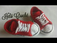 Tênis de crochê Jean - YouTube Crochet Baby Booties, All Star, Baby Shoes, Kids, Fashion, Male Shoes, Knitting And Crocheting, Diy And Crafts, Tricot