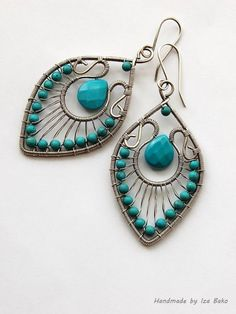 Handmade, Wire Wrapped Statement Earrings with Turquoise Gemstones Wrapped in Sterling Silver
