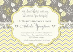 Yellow and Grey Chevron and Floral Baby Shower Invitation
