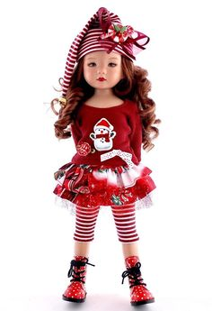 """~A Candy Cane Christmas~ Holiday Outfit for 13"""" Effner Little Darlings by Sharon"""