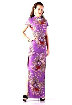 Lilac Cheongsam  Luxurious evening dress in deep lilac with Chinese style flower pattern, long sexy side slits and a revealing yet demur keyhole opening topped of with an elegant mandarin style collar.
