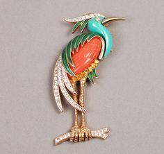 Hattie Carnegie Brooch - Heron Brooch - Vintage Brooch - Vintage Pin - Book Piece